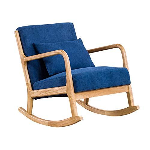Home Equipment Relax Mecedora Sofá tapizado en tela Sillón individual con patas de madera maciza Mecedoras modernas acolchadas de ocio para el hogar Sala de estar Dormitorio Muebles de oficina Negr