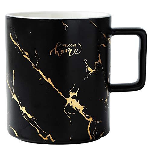 Bestwishes Kaffeetasse Schwarz Marmor Gold Design Keramik XL groß ca. 400ml (Schwarz)