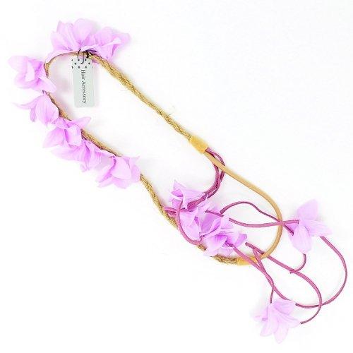 Cheveux naturels Cordon Fleur Guirlande/serre tête fleur avec pompon en daim – Lilas