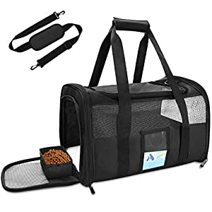 Refrze Pet Carrier Airline Approved, Cat Carriers for Medium Cats Small Cats, Soft Dog Carriers for Small Dogs Medium Dogs, TSA Approved Pet Carrier for Cats Dogs of 15 Lbs, Puppy Carrier,Black