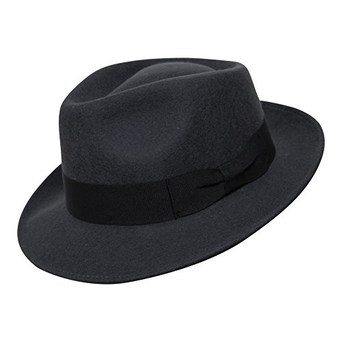 Borges & Scott B&S Premium Doyle - Teardrop Fedora Hut - 100% Wollfilz - perfekt zum Reisen - was-serabweisend - Unisex - 58cm Dunkelgrau