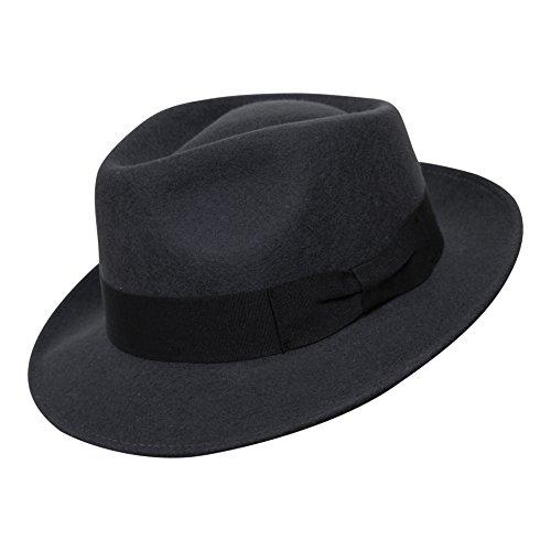 Borges & Scott B&S Premium Doyle – Sombrero de lágrima Fedora - 100% Fieltro de Lana - Enrollable para Viajes - Resistente al Agua - Gris Oscuro 54cm
