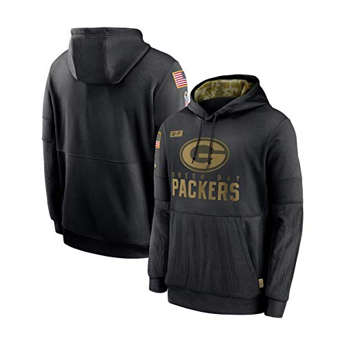 ZWTT Herren Jersey Hooded-Green Bay Packers Hoodie Sportswear Baumwolle Atmungsaktiv Classic Langarm Sweatshirt Fitness Wear Freizeitjacke-Black-S