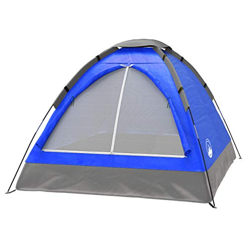 "2 Person Tent – Rain Fly & Carrying Bag – Lightweight Dome Tents for Kids or Adults – Camping, Backpacking, and Hiking Gear by Wakeman Outdoors (Blue), (l) 77"" x (w) 57"" x (h) 40"""