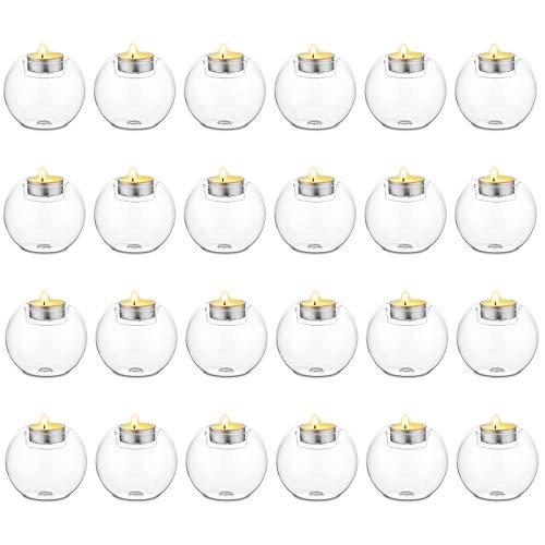 Sziqiqi 24Pezzi Candeliere Rotondo di Cristallo, Decorazione per La Cena a Lume di Candela, Candelabro di Vetro Resistente al Calore Come Decorazione per Proposta di Matrimonio O Nozze