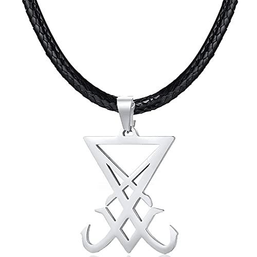 ShZyywrl Collar De Joyas Regalos para Aniversario Cumpleaños De La Madre Collar Sello Satanás Sigil De Colgante Triángulo Inoxidable C