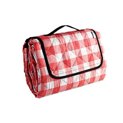 Azanaz Ausflug, Camping, Park, Meer, Picknick Strandmatte PEVA wasserdicht Picknickmatte Baumwolle hinzufügen Waschmaschinenfest (200cmX150cm, Rotes und weißes Gitter)