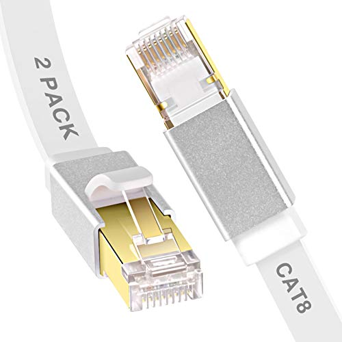 Cat 8 Ethernet Cable, GLANICS 1 ft and 10 ft Network Internet Cables, Short LAN Cord with RJ45 Connector for Modem, Router, Switch, Gaming (Flat, White)