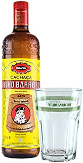 Cachaça Velho Barreiro SILVER 1 L Geschenk-Set/brasilianischer Qualitäts-Zuckerrohrrum plus 1 Caipirinha Glas mit VELHO BARREIRO Aufschrift,