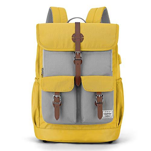 WindTook 15,6 Zoll Laptop Rucksack Backpack Daypack Schulrucksack Notebook Damen Herren mit USB Anschluss für Uni Arbeit Campus Freizeit, 31 x 16 x 41 cm, Gelb