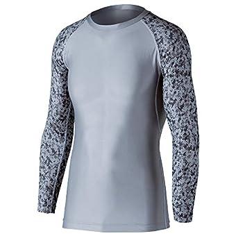 おたふく手袋 ボディタフネス 冷感・消臭 パワーストレッチ 長袖 クルーネックシャツ メンズ JW-623 グレー×迷彩 L
