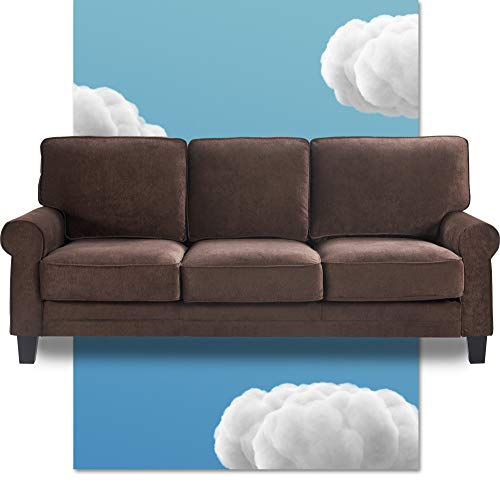 """Serta Copenhagen Storage Sofas Two or Three Person Living Room Couch with Soft Foam-Filled Cushions, Easy-to-Clean Microfiber Upholstery, 77"""", Dark Brown"""