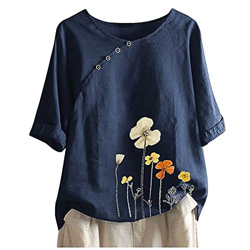 Plus Size Leinen Bluse Damen T-Shirt Leinenbluse V-Ausschnitt Kurzarm 3/4 Arm Ramadan Festival Sommer Blume Druck Oberteile Casual Shirt Pullover Lose Female Teenager Mädchen Leinenhemd XIAOYUER