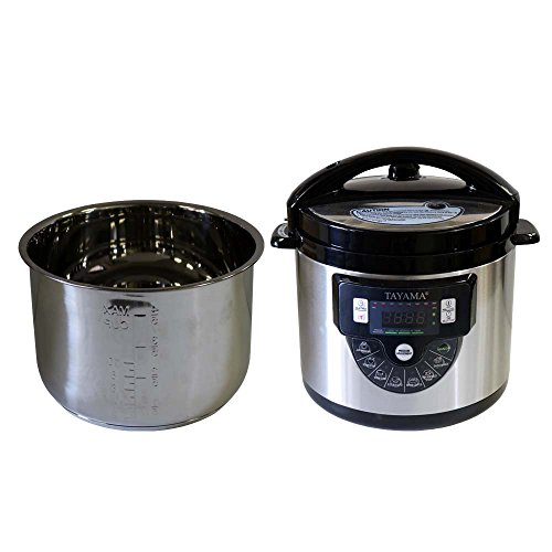 Tayama TMC-60SS Electric Pressure Cooker with Stainless Steel Pot 6 Quart, Medium, Black