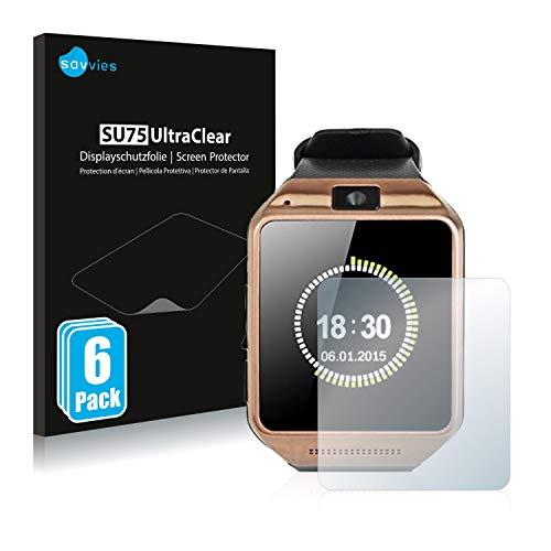 savvies Protector Pantalla Compatible con Gearmax Smartwatch DZ09 (6 Unidades) Película Ultra Transparente