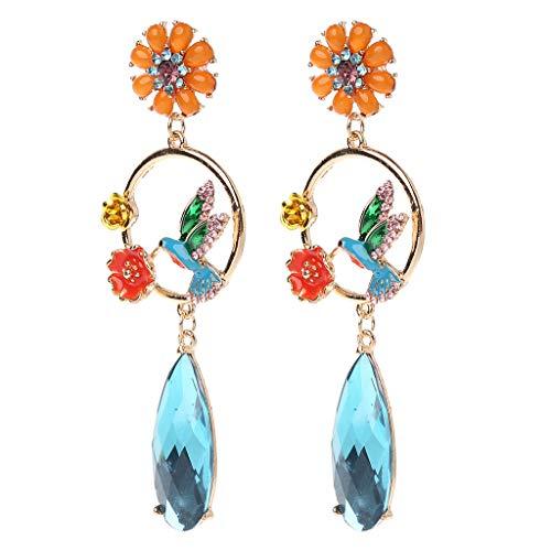 Ixkbiced Pendientes de Gota de Diamantes de imitación Coloridos Dibujos Animados pájaro Flor Luna diseño Mujeres joyería