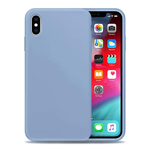 Liquid Silicone Phone Case for Apple iPhone Xs/Full Body Protection/Shockproof/Gel Rubber/Cover Case Drop Protection LightSkyBlue