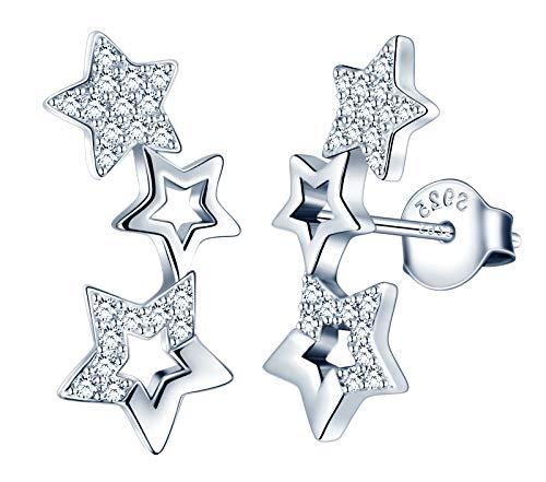 MicLee Damen Ohrringe 925 Sterling Silber Zirkonia Einfach Elegant 3 Sternchen Sterne Ohrstecker Ohrschmuck mit Geschenkbeutel,Super Weihnachten Geschenk