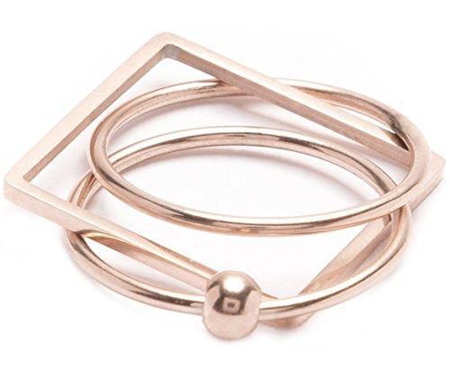 Happiness Boutique Anello Statement Pallina in Metallo | Anello Oro Rosa Design Geometrico