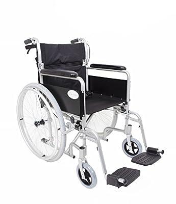 Angel Mobility Lightweight Aluminium Folding Self Propelled Wheelchair in Metallic Silver Compact Design