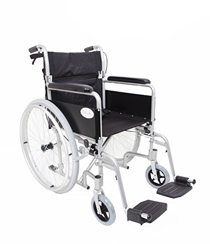 Angel Mobility Lightweight Aluminium Folding Self Propelled Wheelchair in Metallic Silver Compact Design
