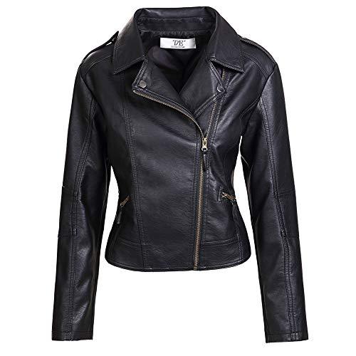 ZAKASA - Chaqueta de piel sintética para mujer, con solapas cierre de cremallera, corte slim, colores negro y marrón Negro Negro ( M