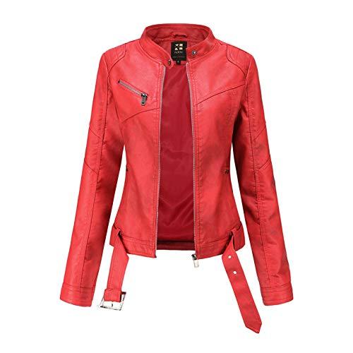 LUONE Chaqueta de Cuero para Mujer, Nueva Chaqueta de Talla Europea para Mujer, Corta con cinturón, Chaqueta de Cuero Ajustada de Gran tamaño, Cuello Alto, Tendencia para Mujeres lgadas,Rojo,M