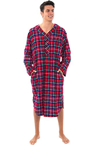 Alexander Del Rossa Men's Lightweight Flannel Sleep Shirt, Long Henley Nightshirt Pajamas, Medium Blue Red and Green Plaid (A0542Q19MD)