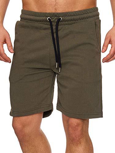 Tazzio Herren Sweatshort Jogginghose Fitnesshose Traininghose Sweatpants Sporthose Freizeithose 17600 Khaki XL