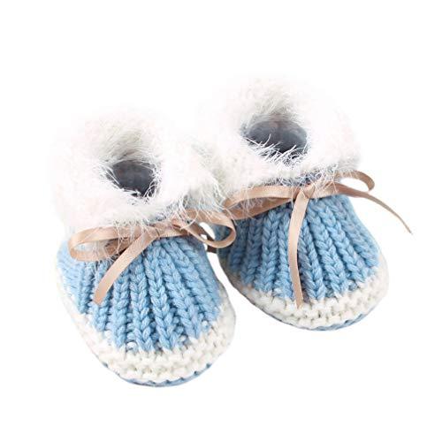 Fenical Babyschuhe Schuhe gestrickte Babyschuhe Herbst Winter Prewalker Schuhe für Babys Kleinkinder Kleinkind (hellblau 0-6 Monate alt)