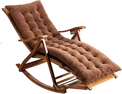 OUMIFA Silla Exterior Mecedora con una Carpeta de bambú de 5 velocidades con 5 Silla Plegable de jardín específica con Masaje de pies y cojín de algodón Que Carga 20