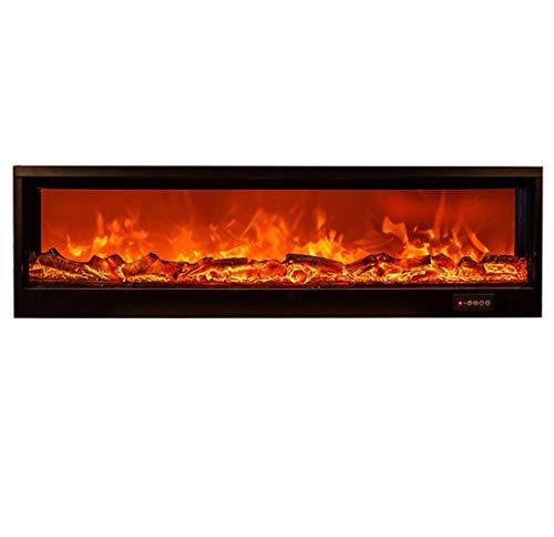 Wand voor elektrische open haard - LOG SET & vlam decoratief - inbouwverwarming W / afstandsbediening timer instelbaar - geen verwarming, 90 x 26 x 14 cm / zwart