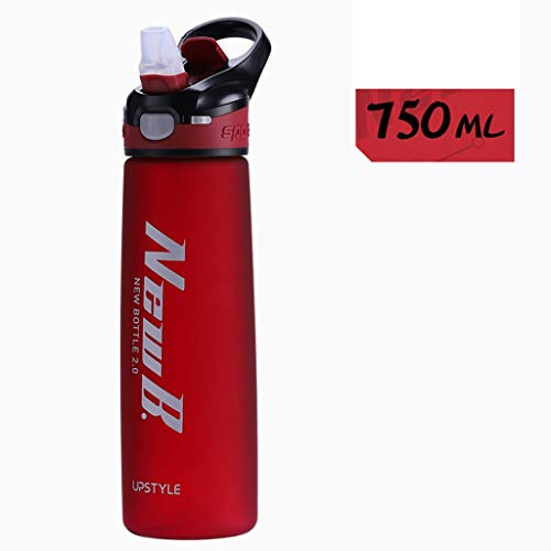 GXP Adult Portable Female Plastic Water Cup Male Student Adult Sports Fitness Kettle Tritan Large Capacity with Straw (Color : Red, Size : 750ml)