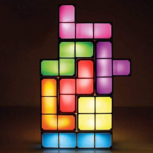 lampada tetris DGHJK Lampada Tetris Impilabile GUIDATO Lampada Tavolo Mood Light Fai Te Bambini Giocattolo 3D retrò Tetris Lamp Fixture Building Blocks