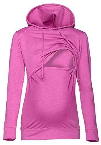Happy Mama. Damen Kapuzenpullover Stillzeit Top Zweilagiges Sweatshirt. 272p (Orchidee, 46, 3XL)