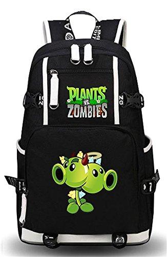 Siawasey Cute plantas Zombie juego Bookbag Caliente Mochila Escolar Bolsa portátil Bolsa negro 4-Black