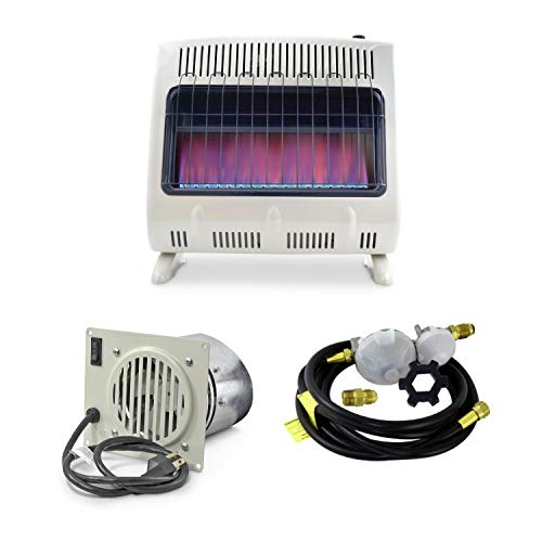 Mr. Heater 30K BTU Blue Flame Vent Free Heater with Blower & 12ft Regulator Hose Kit (3 Items)