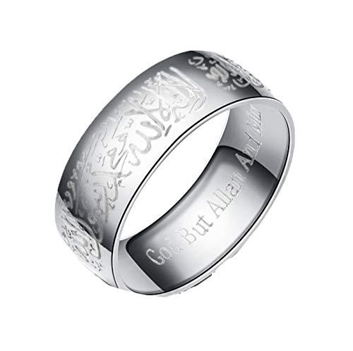 JINGJING - Anillo de compromiso para hombres y mujeres, para parejas, de acero de titanio, para parejas, color plateado, 8