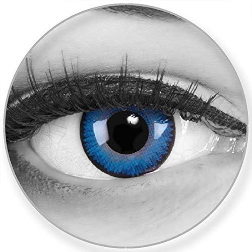 Funnylens Farbige Kontaktlinsen Space Blue blaue - weich ohne Stärke 2er Pack + gratis Behälter – 12 Monatslinsen - perfekt zu Halloween Karneval Fasching oder Fasnacht