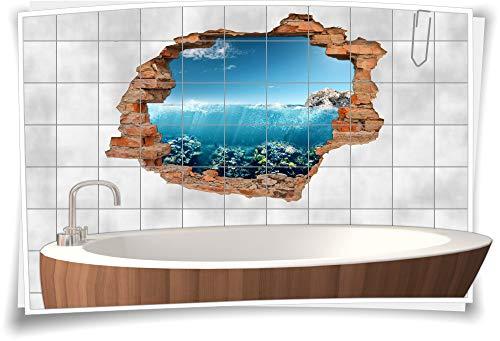 Tegelsticker-3D-tegelafbeelding tegel-tattoo wand-doorbraak maritieme badkamer decoratie-ideeën zee rotsen duiken reizen 150x100cm