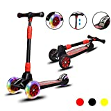 Costzon Folding Kick Scooter for Kids, Featuring Extra-Wide Non-Slip Deck, Deluxe 3 PU LED Light Wheels Scooter, 4 Adjustable Height Handle, for Boys Girls from 4 to13 Years Old (Black)