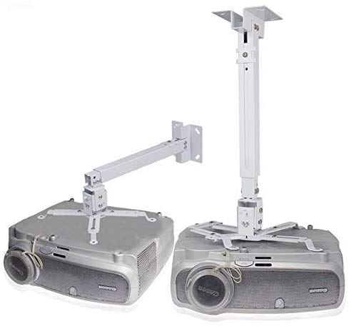 Drsn Soporte de Techo para Proyector, Altura Ajustable 43cm-65cm - Carga Máx 30kg - ±30° Inclinable, Color Blanco, para Proyector de Techo LCD/DLP BenQ, ViewSonic, Epson, Optoma, ASUS Acer
