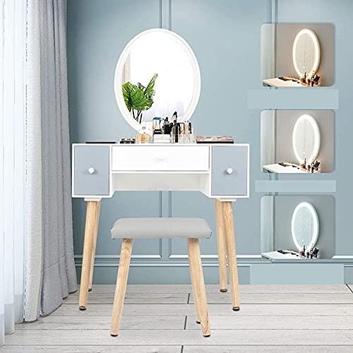 YU YUSING Schminktisch LED-Beleuchtung Kosmetiktisch mit gepolstertem Hocker Frisiertisch Spiegel Schublade Kommode Make-up Tisch, Wohnzimmer, Modern