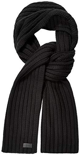 UGG Diagonal Geribbelde Streep Sjaal Zwart Een Maat