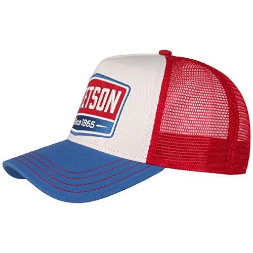 Stetson Cappellino Trucker Highway Donna/Uomo - Mesh cap Berretto Baseball Snapback Snapback, con Visiera Estate/Inverno - Taglia Unica Blu-Rosso
