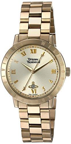 Vivienne Westwood Bloomsbury dameshorloge met goudkleurig analoog display en goudkleurige roestvrijstalen armband VV152GDGD