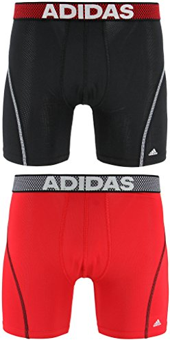 adidas Men's Sport Performance Climacool Boxer Brief Underwear (2-Pack), Black/Real Red Real Red/Black, LARGE