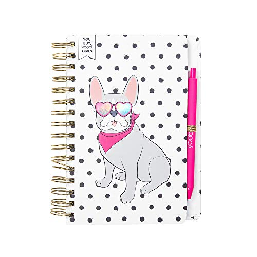 Yoobi | Spiral Bound Journal Set | Polka Dot Frenchie Pup Pattern | Includes Pink Ballpoint Pen in Black Ink | 60 College Ruled Sheets | 8.25' x 6' | PVC Free