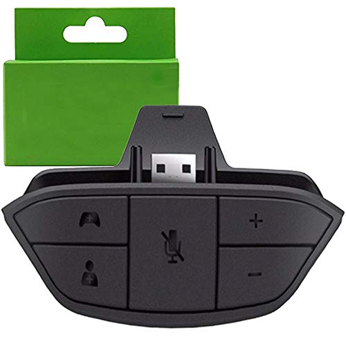 Stereo Headset Adapter, Audio Mic Headphone Converter for Xbox One Controller (Black.)