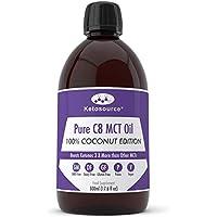 C8 MCT Aceite Puro   100% Coconut   Produce 3 X Más Cetonas Que Otros MCT Aceites   Triglicéridos de Acido Caprílico   Paleo y Vegano Amistoso   Botella Sin BPA   Ketosource®